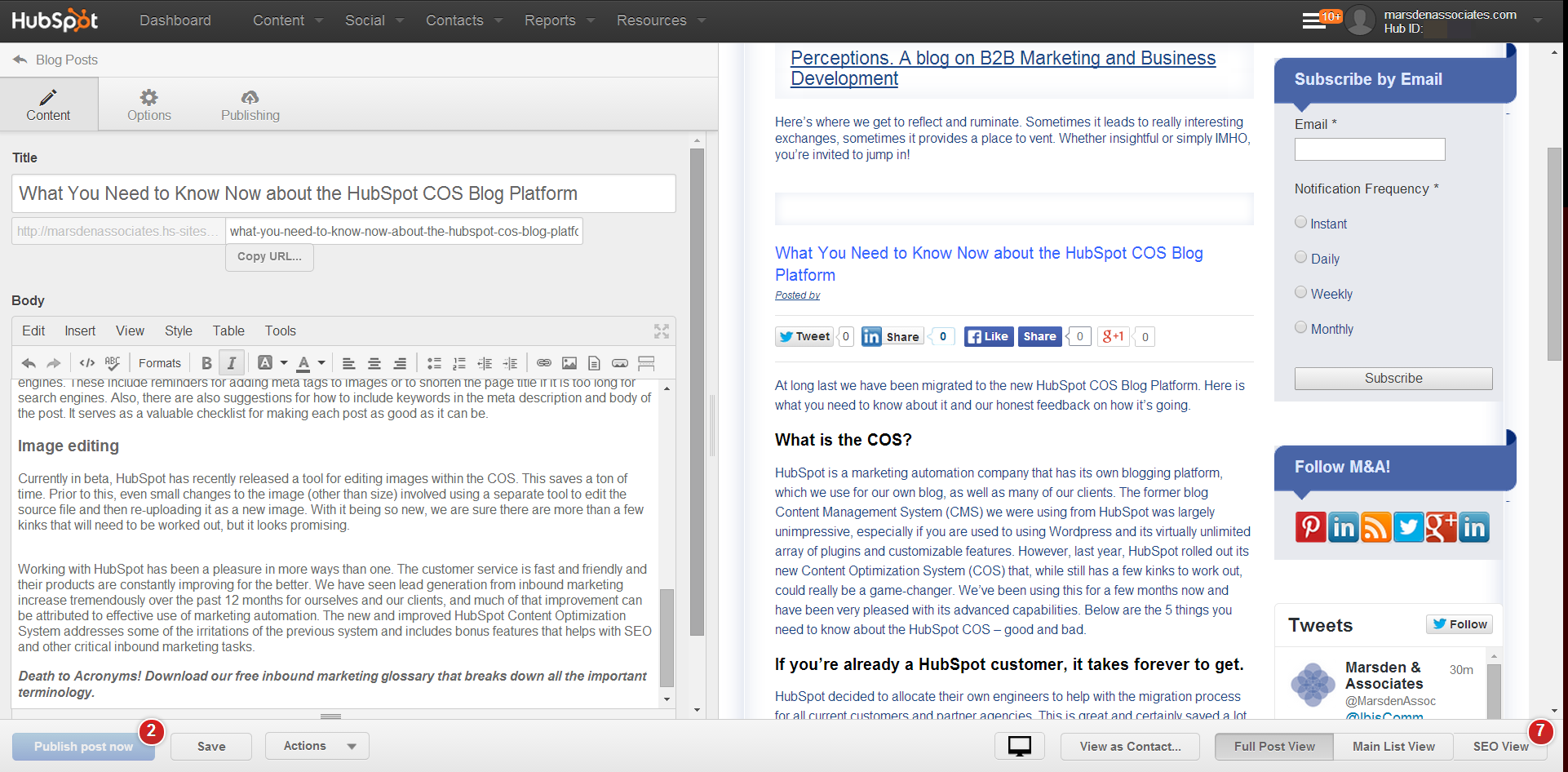 What You Need to Know Now about the HubSpot COS Blog Platform